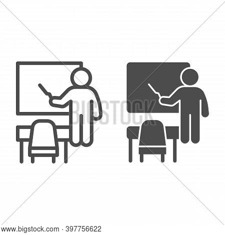 Teacher Near Blackboard And Desk Line And Solid Icon, School Concept, Teacher With Pointer And Board