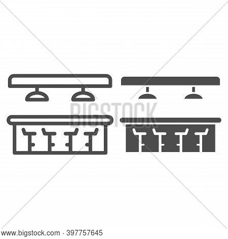 Bar Counter Line And Solid Icon, Bartenders Day Concept, Interior Of Bar Or Pub Sign On White Backgr
