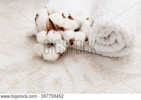 Spa Setting. Background From Light Terry Cloth And Cotton. Fluffy Cotton Flowers And White Towel.