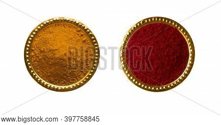 Huldi Kumkum In A Golden Cup Isolated On White Background, Turmeric And Kumkum For Indian Traditiona