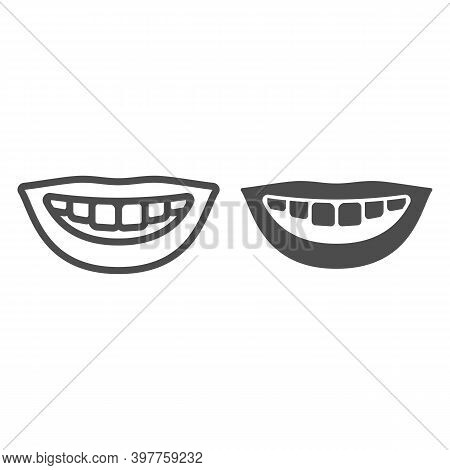 Nice Healthy Smile Line And Solid Icon, International Dentist Day Concept, White Teeth Smile Sign On