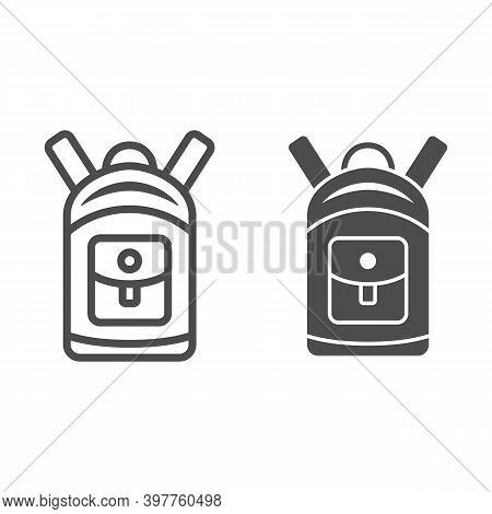 Backpack Line And Solid Icon, World Snowboard Day Concept, Sport Rucksack Sign On White Background,