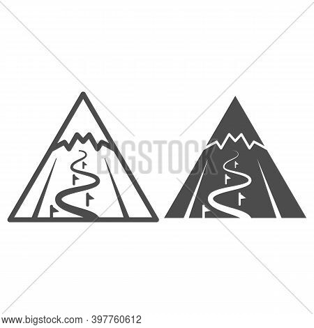 Mountain Slope For Descent Line And Solid Icon, World Snowboard Day Concept, Ski Track Sign On White