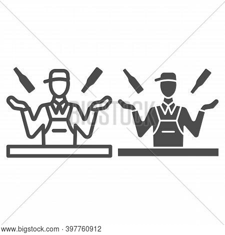 Bartender Juggles Drinks Line And Solid Icon, Bartenders Day Concept, Bartender Juggler Sign On Whit