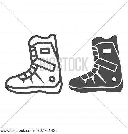 Snowboarder Boot Line And Solid Icon, World Snowboard Day Concept, Sport Shoes Sign On White Backgro