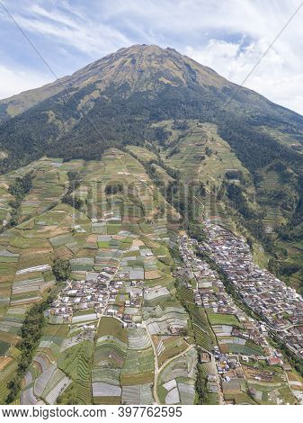 Aerial View The Beauty Of Building Houses In The Countryside Of The Mountainside. Nepal Van Java Is