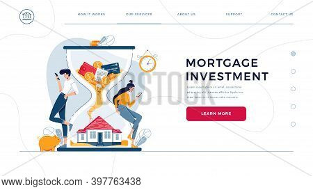 Mortgage Investment Homepage Template. Man And Woman Buy A House And Await For Generating Income Fro