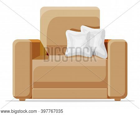 Brown Armchair With White Pillow Isolated On White. Living Room Chair Furniture. Decorated Modern In
