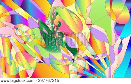 Gradient Modern Motley Colored Background. Cute Sweet And Flower Abstract Background. Vector Illustr