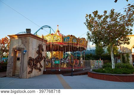 Belek, Turkey - December 17, 2019: Amusement And Carousel For Children And Their Fun In The Amusemen