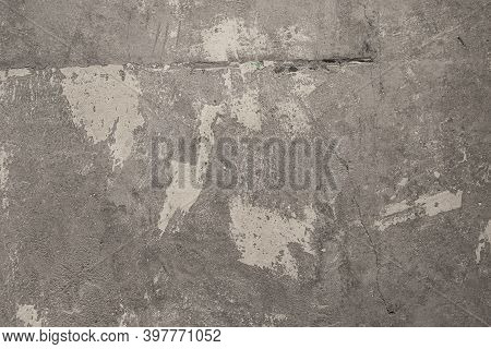 Grey Grunge Texture Cement Wall. Concrete Wall White And Gray Color For Background. Old Grunge Textu