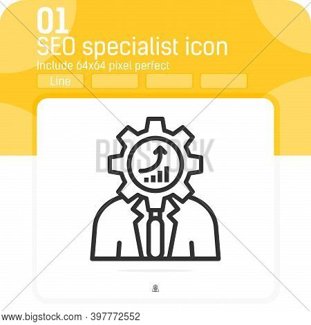 Seo Specialist Icon With Outline Style Isolated On White Background. Vector Illustration Seo Special