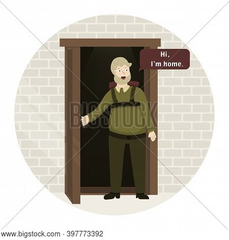 A Man Stands In The Doorway And Says Hi, I M Home. The Guy Came Home