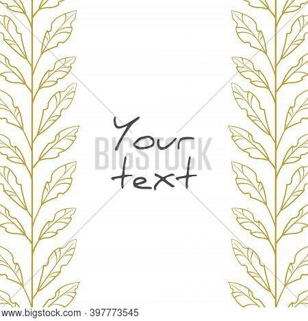 Gold Foliate Borders; Vertical Branches With Leaves For Greeting Cards, Posters, Banners, Invitation
