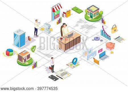 Franchise Business Isometric Flowchart, Flat Vector Illustration. Chain Store Development, Branch Ne