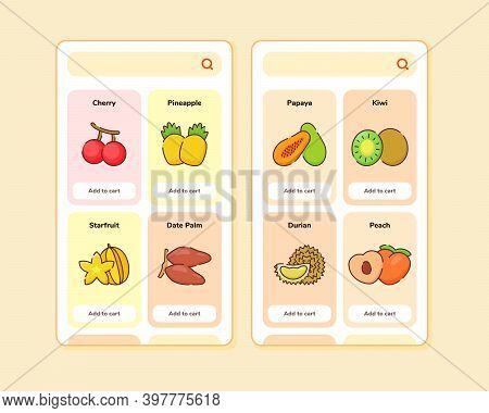 Fruit Store Ui Or Ux Design For Mobile Apps Template Screen Design With Some Fruit List Like Cherry