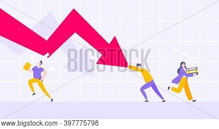 Recession Loss And Business Bankruptcy Concept. Young Adult Man Pushed Red Crisis Arrow Downturn Vec