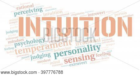 Intuition Typography Word Cloud Create With Text Only.