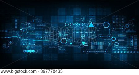 Technology Concept. Hi-tech Digital Technology And Sci-fi Technology, Abstract Technology Background