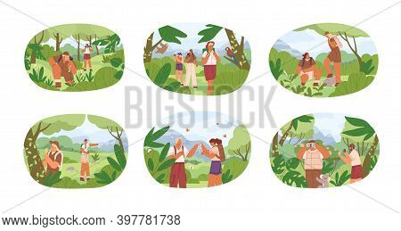 Set Of Different People Exploring Nature Vector Flat Illustration. Collection Of Man And Woman Explo