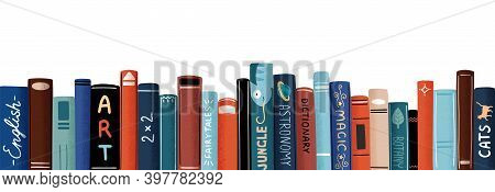 Row Of Different Colorful Books Vector Flat Illustration. Educational Or Entertainment Textbooks Wit