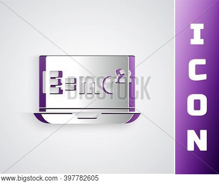 Paper Cut Math System Of Equation Solution On Laptop Icon Isolated On Grey Background. E Equals Mc S