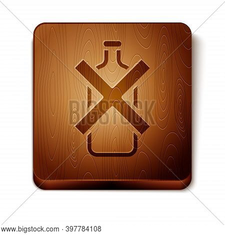 Brown No Alcohol Icon Isolated On White Background. Prohibiting Alcohol Beverages. Forbidden Symbol