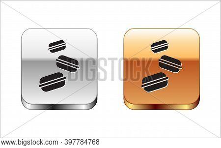 Black Macaron Cookie Icon Isolated On White Background. Macaroon Sweet Bakery. Silver-gold Square Bu