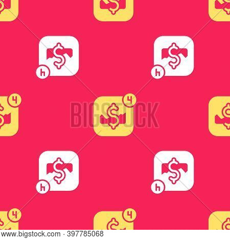 Yellow Mobile Stock Trading Concept Icon Isolated Seamless Pattern On Red Background. Online Trading