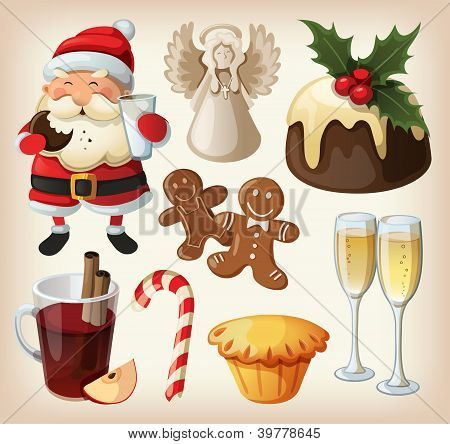 PrintSet of festeve food and decorations for christmas table