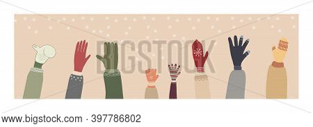 Hands In Mittens On The Background Of Falling Snowflakes. Collection Of Individual Vector Illustrati