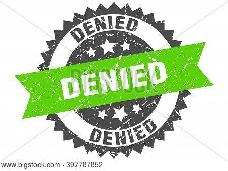 Denied Grunge Stamp With Green Band. Denied