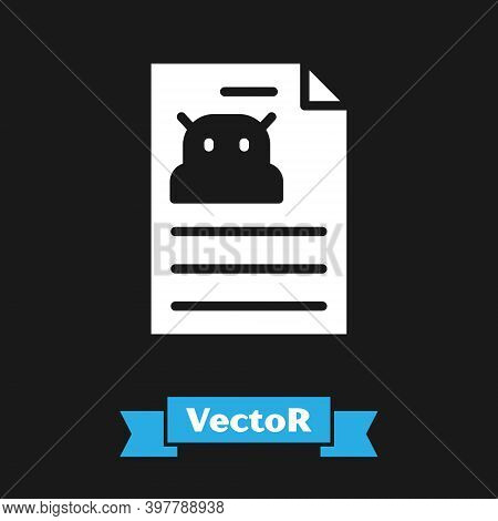White Technical Specification Icon Isolated On Black Background. Technical Support Check List, Team