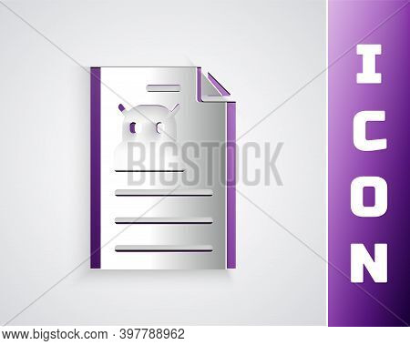 Paper Cut Technical Specification Icon Isolated On Grey Background. Technical Support Check List, Te