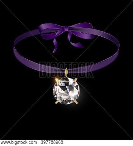 Black Background And Jewel Pendant Crystal With Purple Tape