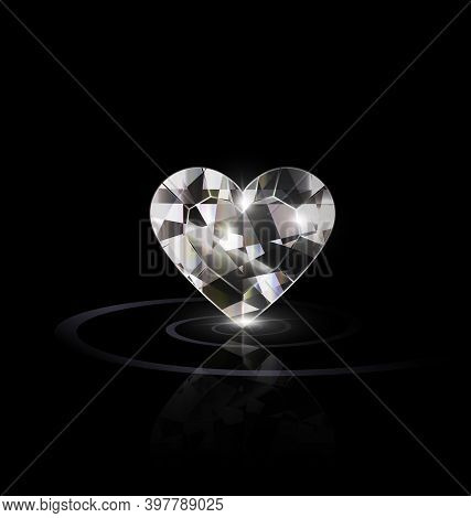 Black Background And Large Light Jewel Crystal Heart