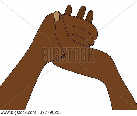 African Americans Are Holding Hands. Prayer At The Dinner Table. Colored Vector Illustration. Isolat