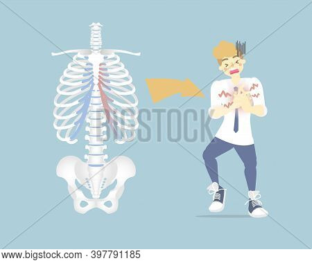 Man Having Chest Pain In The Upper And Middle Rib Cage, Cartilage ,costochondritis, Medical Internal