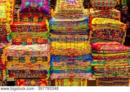 Multicolor Pillowcases For Sale In The Grand Bazaar Istanbul, Turkey, Kapali Carsi. Arab And Turkish
