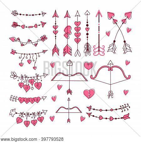 Cupid's Bow And Arrow Set. Hand-drawn Vector Illustration.