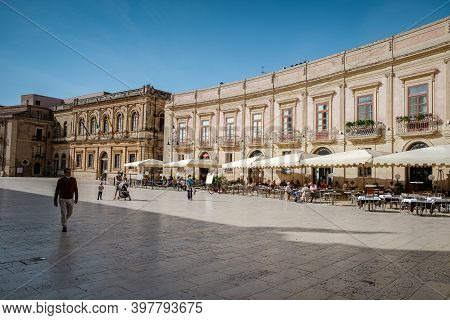 Ortigia In Syracuse Sicily Italy October 2020 In The Morning. Travel Photography From Syracuse, Ital