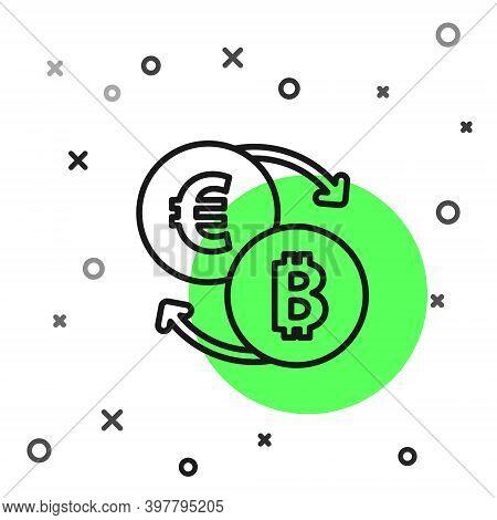 Black Line Cryptocurrency Exchange Icon Isolated On White Background. Bitcoin To Euro Exchange Icon.