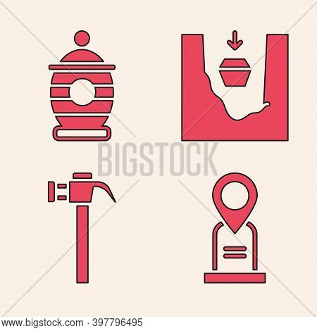 Set Location Grave, Funeral Urn, Coffin In Grave And Hammer Icon. Vector