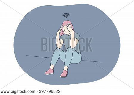 Sadness, Mental Depression, Bad News Concept. Young Unhappy Woman Sitting Touching Head With Hands F