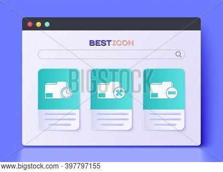 Set Delete Folder, Document Folder With Clock And Document Folder With Minus Icon. Vector