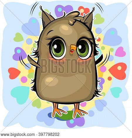 Little Owl. The Funny Chick Is Trying To Take Off. Cute And Funny Chick. The Isolated Object On A Wh