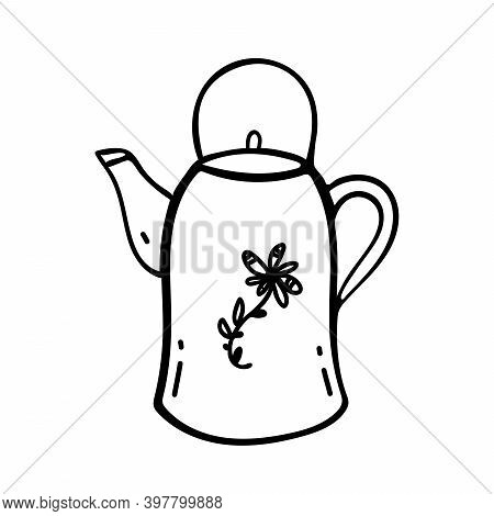 Kettle Doodle Icon Vector Hand Drawing. Icon In Vector. Hand Drawn Kettle