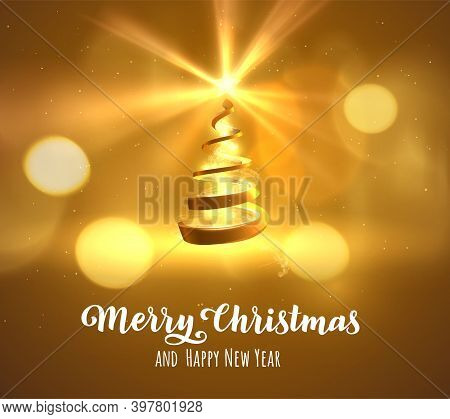 Golden Spiral Shaped Stylised Christmas Tree Vector Background. Eps10