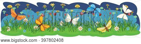 Blooming Meadow With Grass, Flowers And Butterflies. Night Landscape. Cartoon Style. Fabulous Illust