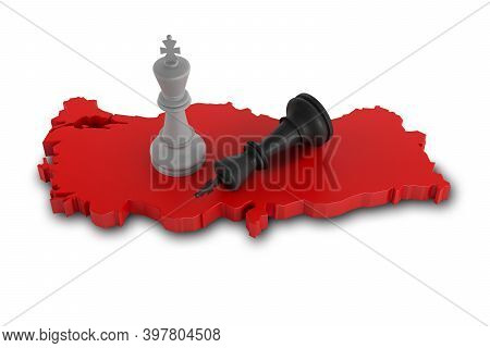 Two King Concept On A Turkey Map. 3d Rendering